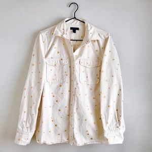 J Crew | Gold Glitter Star Scru Button Jacket NWOT
